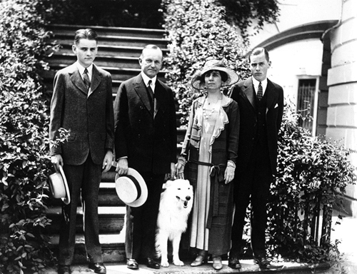 The Coolidge family - Calvin, Jr., Calvin, Grace, and John shortly before Calvin, Jr.'s death. Courtesy of the Library of Congress.