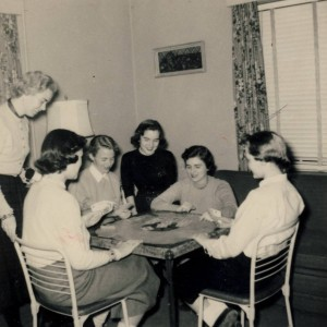 Playing bridge in the sorority suite, circa 1955.