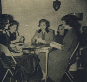 Playing bridge in a sorority house, circa 1942.