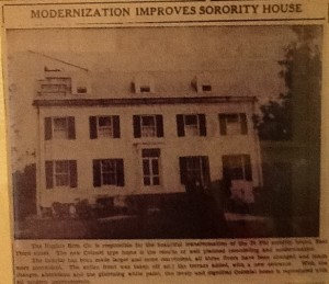 1936 newspaper article about the modernization of an IU sorority house.