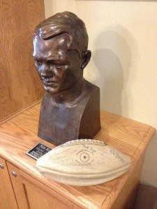 Phi Psi Archives ‏@PhiPsiArchives  Nov 7  On display at Iowa Alpha: Nile Kinnick-signed football, recently purchased by chapter, shown with a Kinnick bust.