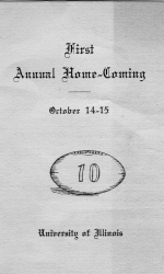 Program from the first Home-coming game at the University of Illinois (Courtesy of University of Illinois Archives)