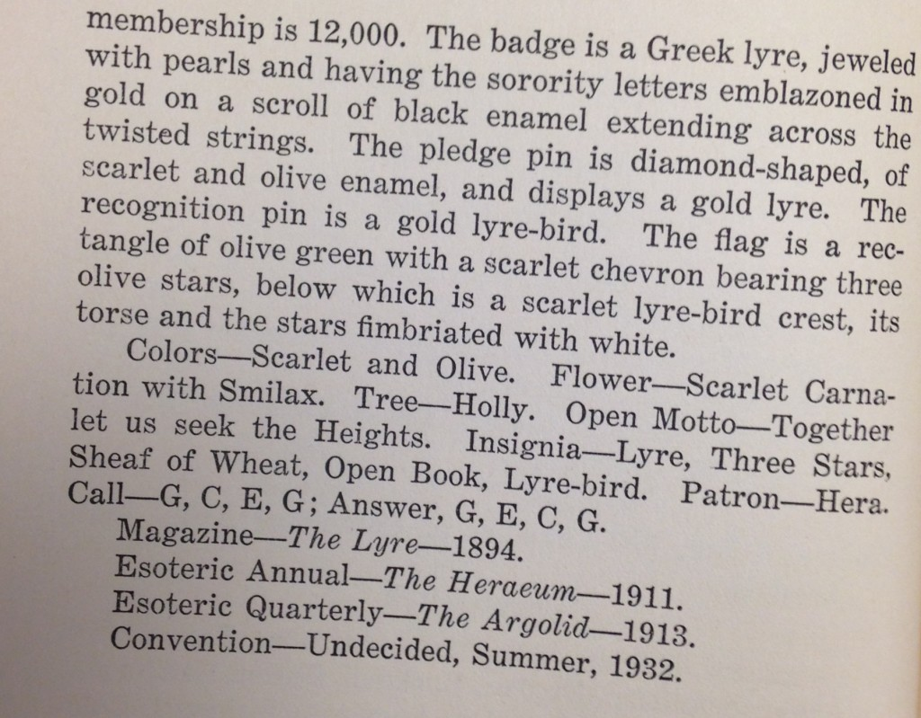 Alpha Chi Omega entry fro the eleventh edition of The Sorority Handbook.