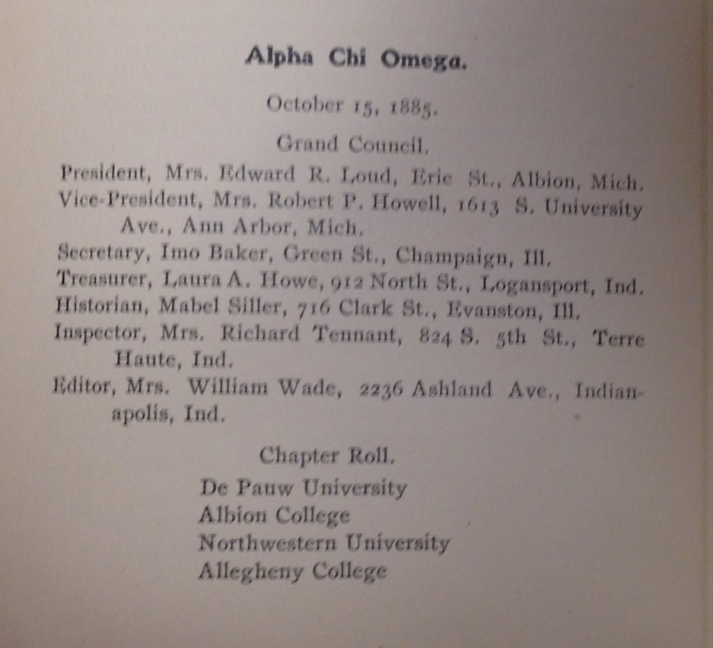 Alpha Chi Omega entry from the 1907 edition of The Sorority Handbook.