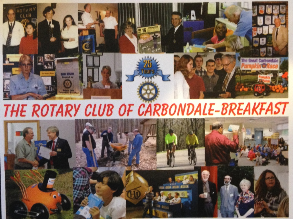 The Rotary Club of Carbondale - Breakfast is celebrating its 25th anniversary tonight. As the incoming president, I will be there tonight celebrating instead of enjoying a Cookie Shine with my South Carolina Alpha friends.