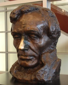 This bust of Abraham Lincoln resides in Morris Library on the Southern Illinois University campus in Carbondale. It is a copy of one sculpted in 1908 by Gutzon Borglum. The original marble bust is in the crypt of the U.S. Capitol.