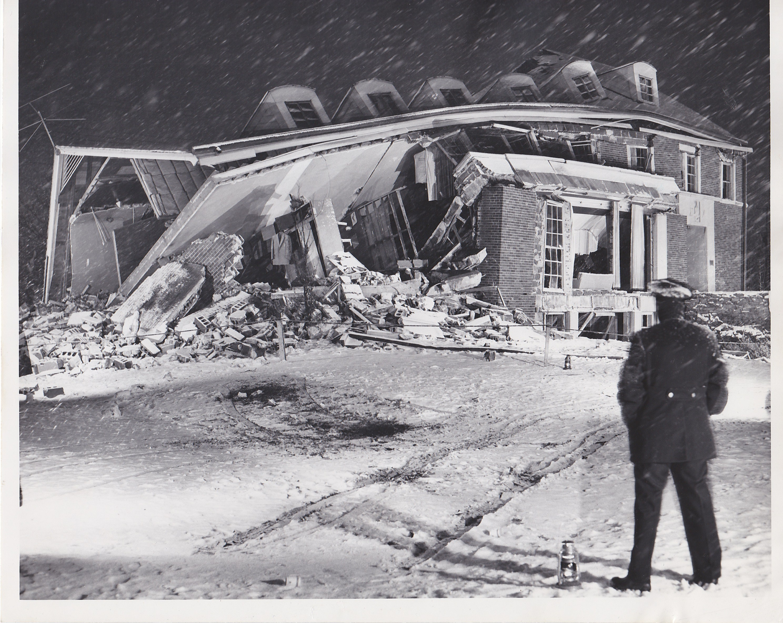 Aftermath of the explosion at the Sigma Chi house in November 1955. Amazingly, no lives were lost. (Photo courtesy of Indianapolis Star)