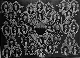 The Indiana Asbury graduating class of 1871 included the first four women graduates - Alice Allen, Laura Beswick, Bettie McReynolds Locke, and Mary Euphemia Simmons - in the center of the class composite.