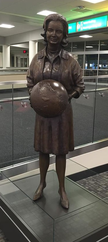 The statue of Jerrie Mock at the Columbus, Ohio, airport. (Photo courtesy of Penny Proctor)