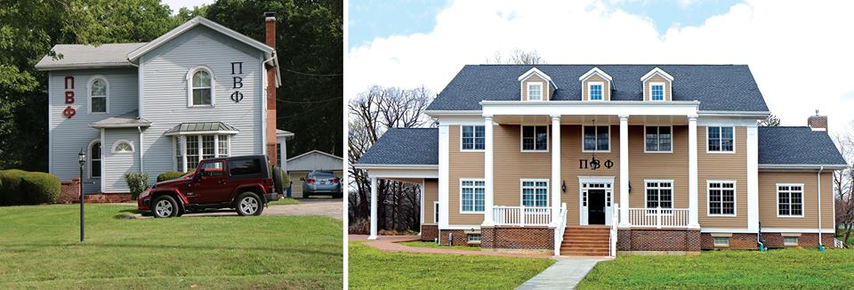 The house on the left is the college owned home that the chapter used for five or six years. The house on the right is the house which was dedicated on Founders' Day.