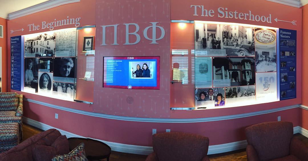 The display in the Ring Ching room. Astute Pi Phis will note the two Past Grand Presidents on the screen in the middle. That the image was there when the picture was taken happened quite randomly as that is a computer screen generating changing images.