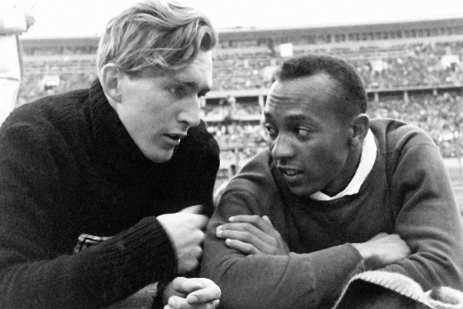 Luz Long and Jesse Owens at the 1936 Olympics.