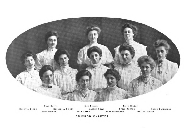 Charter members of the Omicron Chapter of Alpha Chi Omega